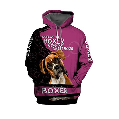 Moda Rottweiler Dog 3D Print Hoodie, Hombres Mujeres Sudadera Casual Pet Dog Hooded Coat Hoodie 2 5XL