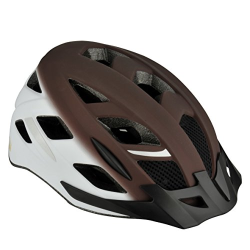 Fischer Adultos Urban Retro Bicicleta Casco, Color marrón de Color Blanco, S/M