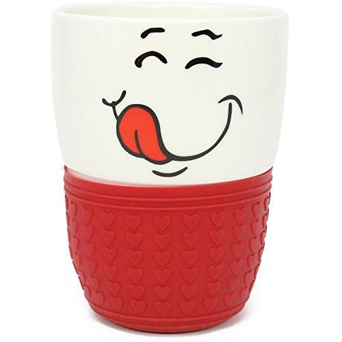com-four® Trinkbecher mit lustigem Motiv, Kaffeebecher in rot, 350 ml (01 Stück - rot ohne Deckel)