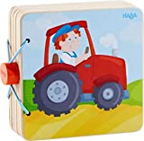 HABA 303773 - Holz-Babybuch Traktor | Stabiles Holzbuch ab 10 Monaten | Leicht zu greifende Seiten aus Holz mit bunten Bauernhofmotiven - Anna Lena Filipiak