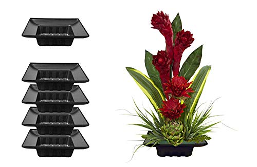 Curtis Wagner Plastics FAC-9900 Flower Arrangement Container (5-Pack) – Black, Square 5.5' x 5.5' Inside x 2.5' Depth Plastic Containers for Floral Arrangement and Wedding Centerpieces for Tables