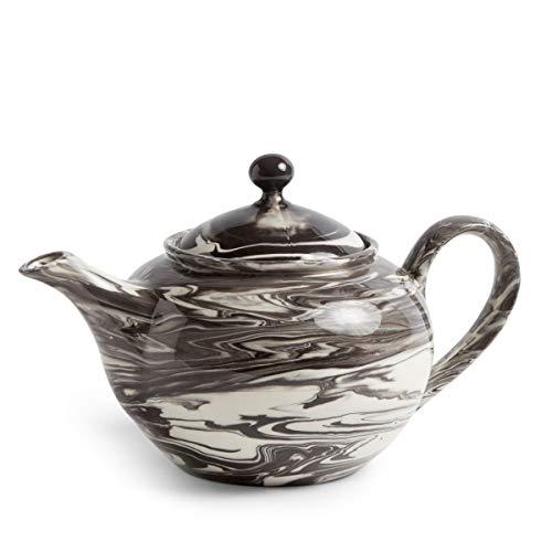 Marbled Teekanne, schwarz Porzellan bemaltes Steinzeug LxBxH 25x15x14,5cm 800ml
