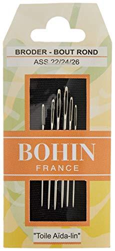 Bohin Tissus Aiguille Tapisserie numéro 22–24–26, en métal, Argent, Lot de 6