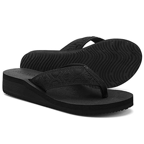 QLEYO Women's Platform Wedge Flip Flop Sandals, Comfortable Walking Thong Sandals with Arch Support, Lightweigh Sandals for Ourdoor Activities Black Size 8