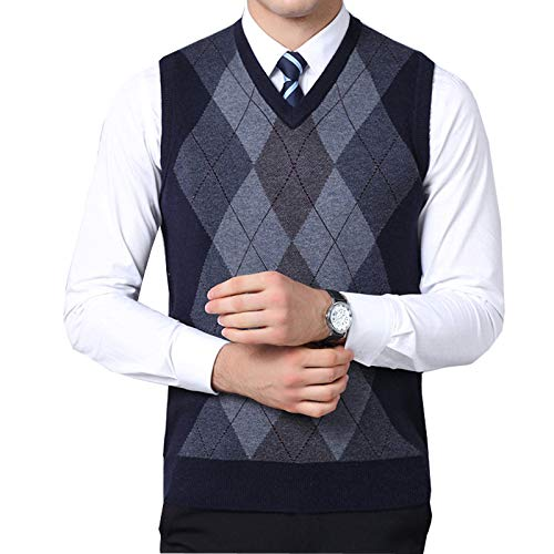 Flygo Mens Classic Argyle V-Neck Knitted Wool Sweater Vest (Medium, Navy)