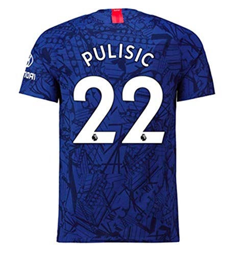 CHEALSD Pulisic # 22 Chelsea 2019-2020 Mens Home Soccer Jersey T-Shirt Blue (M)