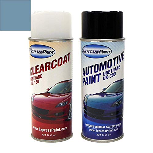 ExpressPaint Aerosol - Automotive Touch-up Paint for Ford Ranger - Light Crystal Blue Pearl Metallic Clearcoat 7E/6328 - Color + Clearcoat Package