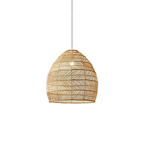 KAIKEA Iluminación Colgante Tejida Ajustable Beige de Estilo japonés Nordic E27 Lámpara Colgante de Techo de ratán Hecha a Mano en Beige Accesorios de iluminación de Mimbre para cafetería Restaurante