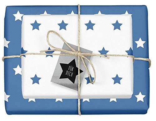 Weihnachtsgeschenkpapier-Set: Sterne (blau/ weiß): 4x Einzelbögen + 4x Geschenkanhänger