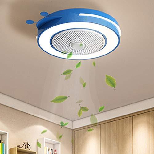 Ventilador de techo con iluminación Ventilador para niños Ventilador con lámpara redonda invisible Iluminación interior Personalidad Habitación para niños Ventilador de techo Silencioso
