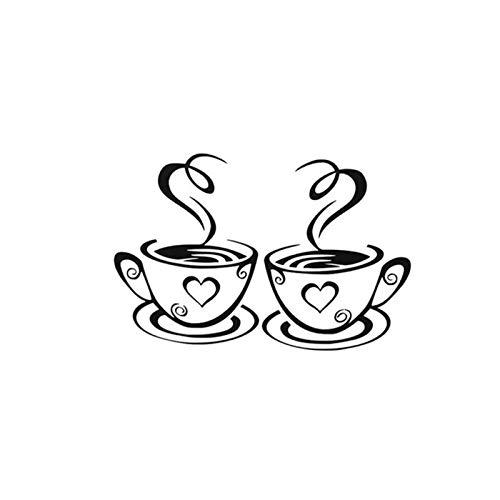 TYUTYU Cartoon Kaffeetasse Muster Wandaufkleber für Küche Esszimmer Rest Raumdekoration Vinyl Fototapete Kunst DIY Home Decals (Color : Black)
