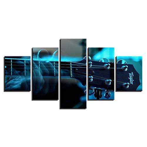 Gbwzz 5 stuks schilderijen op canvas foto's op canvas poster voor schilderijen op maat 5 stuks muziekinstrument voor gitaar HD D schilderijen voor woonkamer No Frame 10x15 10x20 10x25cm