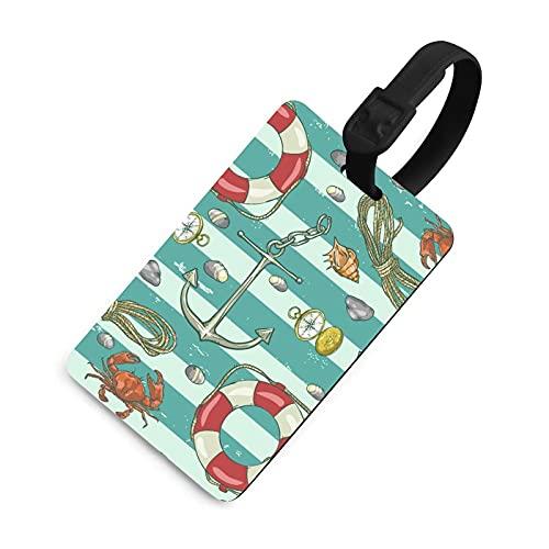Etiqueta de equipaje duradera para niños, etiquetas identificadoras de bolsa con cubierta de privacidad, accesorios de etiqueta de viaje para maleta, avión, mochilas, patrón náutico marino