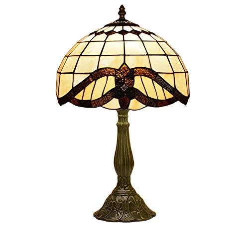 HGFMY Lámpara De Escritorio Estilo Tiffany, Lampara Escritorio Vintage, Lámpara De Mesa Salón, Pantalla De Vitral Con Transmitancia De Luz Moderada, Botón De Encendido, Recámara