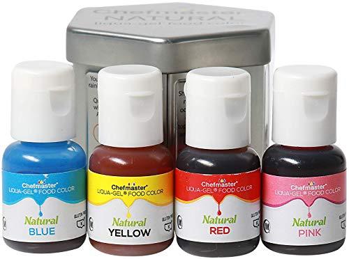 Chefmaster - Natural Liqua-Gel Food Coloring Kit - Natural Gel Food Coloring - 4 Count Pack - Plant-Based Ingredients, Naturally Vibrant Colors, Blends Easily