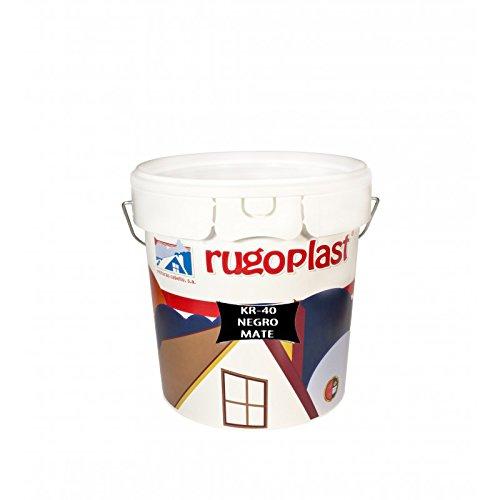 Rugoplast - Pintura plástica mate negra para paredes interior / exterior KR-40 Negro, 4 L