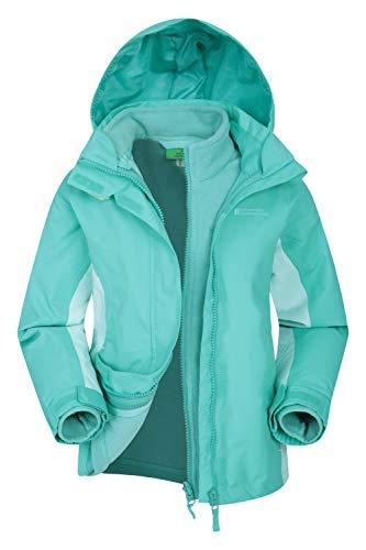 Mountain Warehouse Lightning wasserfeste 3-in-1-Kinder-Jacke - Triclimate-Jacke mit versiegelten Nähten, abnehmbare Kapuze, Fleece-Futter, mehrere Taschen Blaugrün 7-8 Jahre