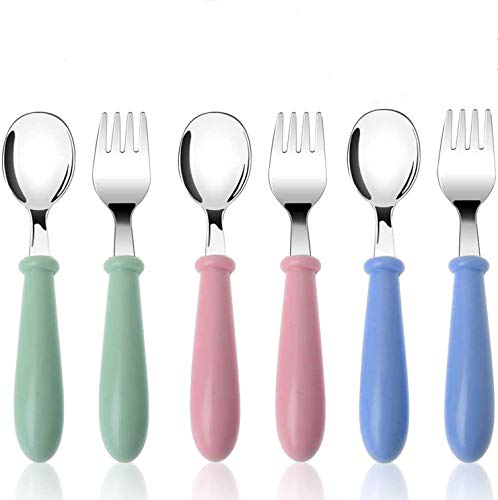 3 Sets Toddler Utensils Stainless Steel Fork and Spoon Safe Children's Cutlery Set Round Handle Cute for Baby