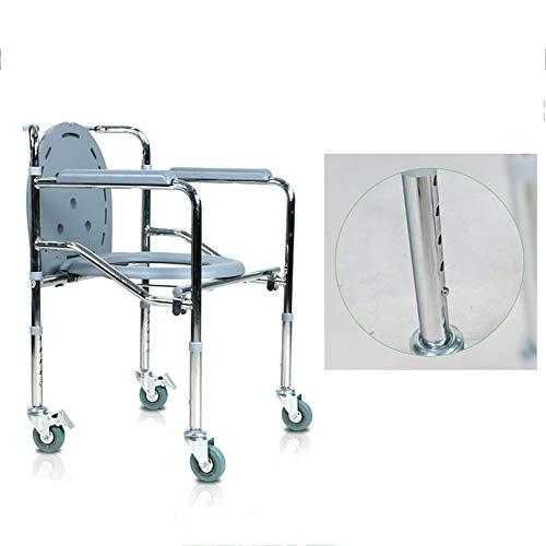 Toilettenstuhl,Klappbarer fahrbarer Duschstuhl, Edelstahl-Sicherheitsstuhl mit Rollen, Sicherheit im Badezimmer