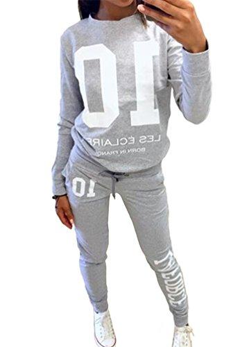 Baymate Damen Trainingsanzug Drucken Sweatshirt Rundhals Tops + Hose Sportanzug 2Pcs Grau M