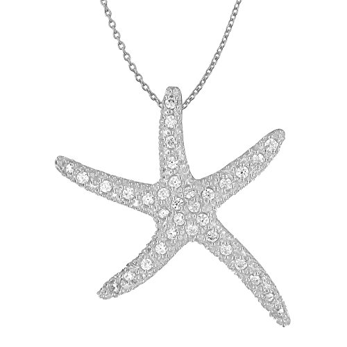 Sterling Silver Synthetic CZ Large Starfish Pendant Necklace, 18'