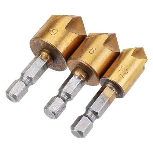 Brocas Para 3 unids/set 5 flautas 90 grados punto ángulo chaflán cortador 1/4 Hex Shank 12/16 / 19mm Poco de perforación del avellano-Oro