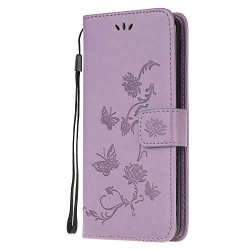 Draamvol Schutzhülle für Samsung Galaxy S21 FE, stoßfest, Leder, Brieftasche, Klappetui, Magnetverschluss, Standfunktion, Schmetterlings-Muster, Hellviolett