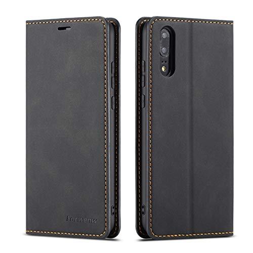 QLTYPRI Hülle für Huawei P20, Premium Dünne Ledertasche Handyhülle mit Kartenfach Ständer Flip Schutzhülle Kompatibel mit Huawei P20 - Schwarz