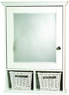 Elegant Medicine Cabinet With Storage And Mirror, Sturdy Wood Construction,  2 Adjustable Shelves,