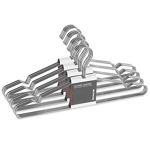 bomoe Set de 20 Perchas Ropa Plateado - Perchas de Metal Cromado...