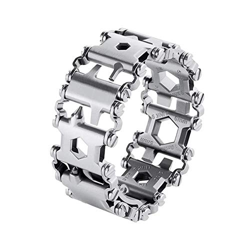 Multi Tool Bracelet for Men, 29 in 1 Stainless Steel Multifunction Bracelet Survival Multitools Bracelet Travel Friendly Wearable Multitool Tread Bracelet (Silver)