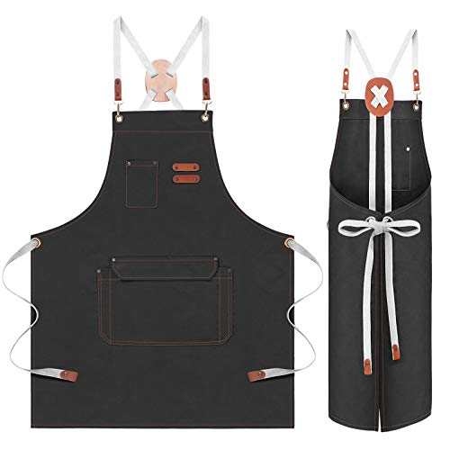 Aprons for Men Women With Pockets, Adjustable Cross Back Cooking Kitchen Apron, Size 27×32 in, Strap 59 in, Suitable for Most Male and Female Chef Aprons