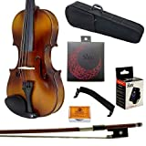 Paititi 1/4 Size Solid Wood Student Violin Complete Package w Case Bow Rosin String Tuner Shoulder Rest Complete Package