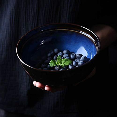 NO BRAND Inicio vajilla 6.5inch Ensalada Tazón de cerámica Creativa de Cubiertos for la Cocina casera Desayuno Ramen (Color : # Blue (460g/1000ml))
