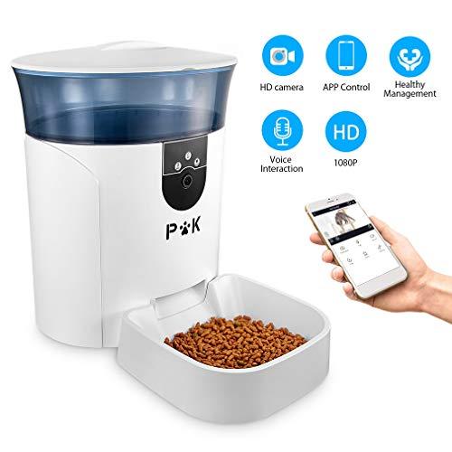 PUPPY KITTY 6.5L Automatischer Futterautomat für Katze und Hund, Automatischer Futterspender mit Timer mit bis zu 4 Mahlzeiten am Tag,LCD Bildschirm und Ton-Aufnahmefunktion (Blau app Version)