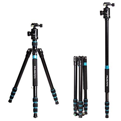 POLAM-FOTO Professional Camera Tripod- 63.39''/161cm 2 in 1 Aluminum Travel Tripod/Monopod with Ball Head Load 10kg