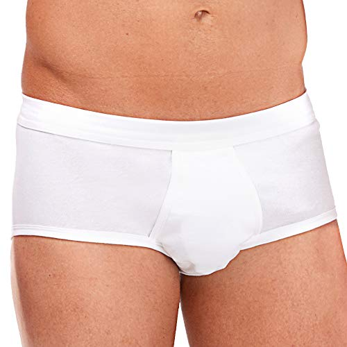 ASCOT Herren Slip mit Eingriff 5er Pack I Herren Unterhose aus 100% Baumwolle I Herrenslip ohne Seitennähte in Feinripp-Qualität I Weiß I Größe 6 (L)