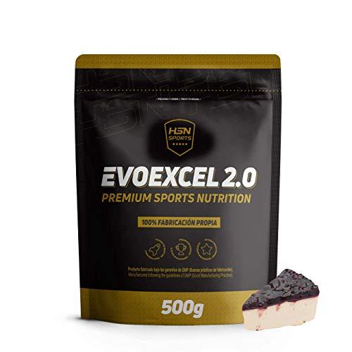 Whey Protein Isolate + Whey Protein Concentrate de HSN Evoexcel 2.0   Batido de Proteínas para Ganar Masa Muscular, Recuperar, Perder Grasa   Vegetariano, Sabor Tarta Queso Frutas del Bosque, 500g