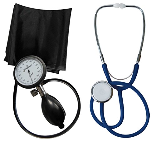 Blutdruckmessgerät Oberarm Profi Tiga Pro 1 Neuware K 1 + Stethoskop Flachkopf Blau Tiga-Med