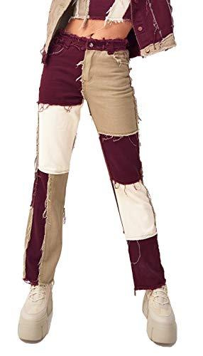 Jeans a Zampa Vita Alta Pantaloni a Matita Moda Casual Pantaloni Jeans Patchwork Donna M Marrone