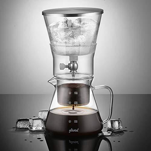 Glastal Glas Cold Brew Dripper 600ml/4 Tassen Kunststoff & BPA-frei Cold Drip Kaffeebereiter aus Borosilikatglas und 18/8 Edelstahl Einstellbare Coffee Maker für Kaltgebrühten Kaffee und Tee