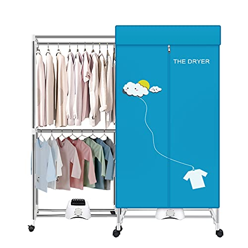 Portable Dryer,110V 1000W Electric Clothes Dryer Machine Double layer Stackable Clothes Drying Rack for Apartments, RV,Laundry,and More