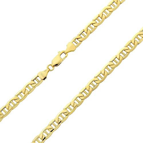 Catena in oro giallo 585 da 14 carati con maglia piatta marinara, lavorazione italiana, larghezza 3,1 mm, lunghezza a scelta, Oro giallo, colore: oro giallo, cod. mariner1-14