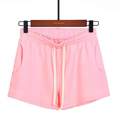 MOTOCOFrauen Beiläufig Lose Taschen Elastische Taille Yoga Sport Laufhose Größe 36-44(2XL(44),Rosa)