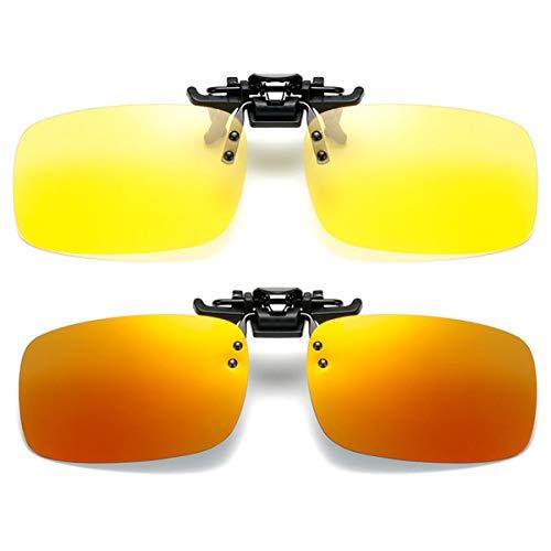2 Paar Sonnenbrille Clip auf Flip Up Night Vision Gläser Blendschutz polarisierte für Männer Frauen UV400 Beste für Driving Golf Schießen Angeln Jagd Outdoor Sports - gelb+rot Spiegel