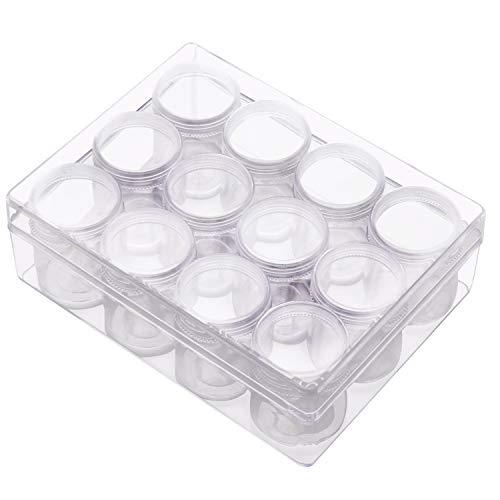 BELLE VOUS Contenedor de Plástico para Abalorios - 12 x 30 ml Botes con Tapa con Rosca - Contenedores Redondos para Abalorios Pintura Diamante, Nail Art, Purpurina, Cosméticos, Cuentas para Joyas