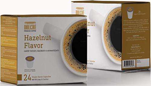 Dolché, Amerikaanse Koffie Capsules Met Hazelnootsmaak, Compatibel Met K-cup Keurig 2.0, doos 96 capsules (4x24)