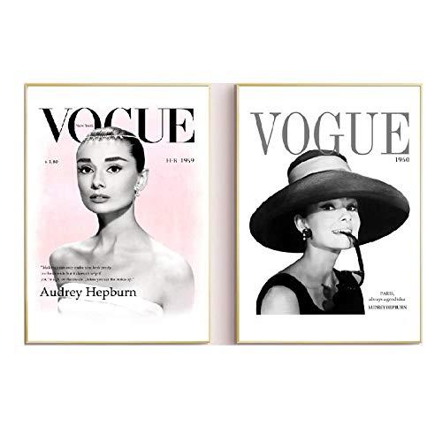HNZK Moda Pared Arte Impresiones HD Cuadros Vogue Audrey Hepburn Moderno Lienzo Pinturas Moderno Estilo Poster para Salon HabitacióN Hogar Decoracion 40x60cmx2 / Sin Marco