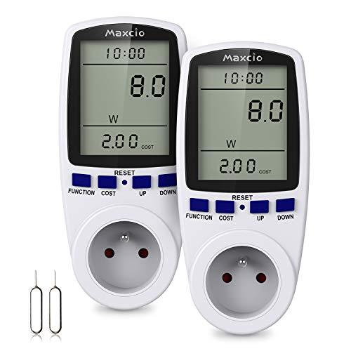 Maxcio Prise Compteur d Énergie, Consommation d Énergie Mètre Wattmètre avec 7 Mode, Prise Consommation Electrique pour Économie d Energie, Surcharges de Protection, 3680W MAX (2 Packs)