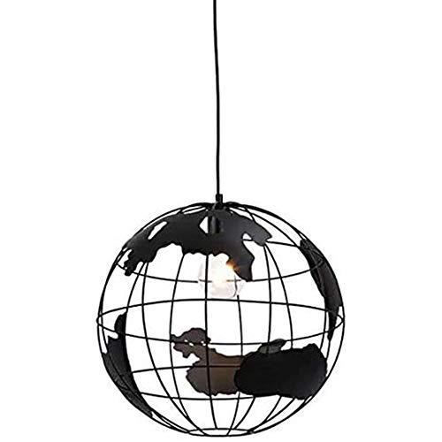 Lampada A Sospensione A Forma Di Globo Lampada Da Soffitto Creative Hanging Metal Wire Gage Lampadario 60W E27 nero (Diametro 20cm)